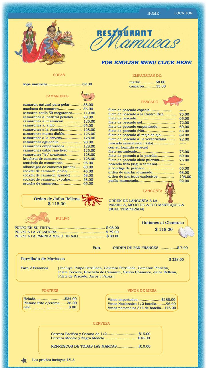 Permalink to Mazatlan Restaurant Menu